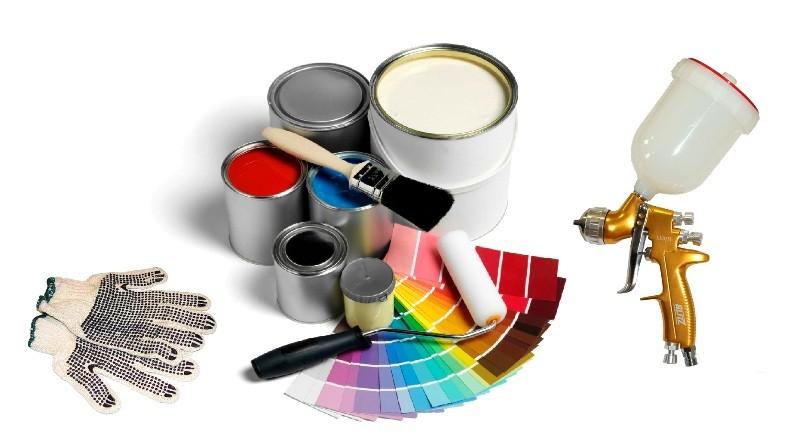 Разные краски, кисти и краскопульт