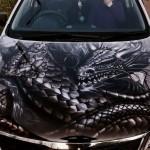 Драконы на автомобилях как популярный вариант аэрографии