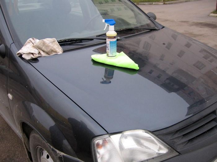 Средство и замша для сухой мойки авто