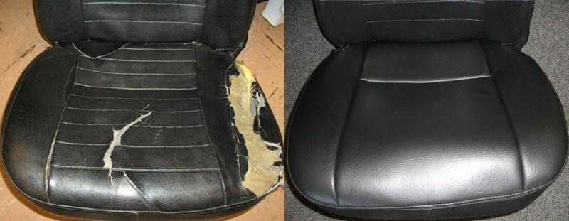 Ремонт сидений до и после