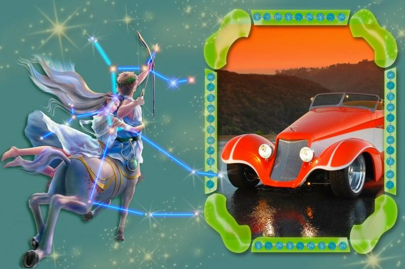 Знак зодиака Стрелец и оранжевая машина
