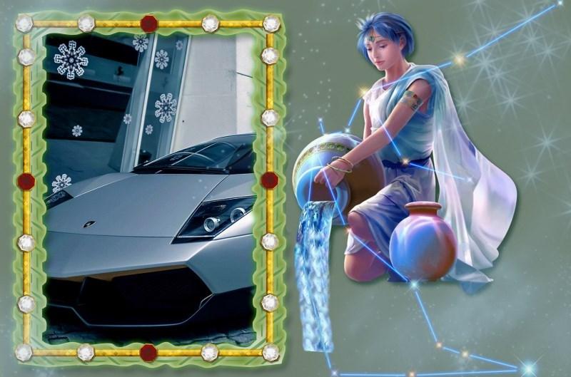 Знак зодиака Водолей и серебристый автомобиль