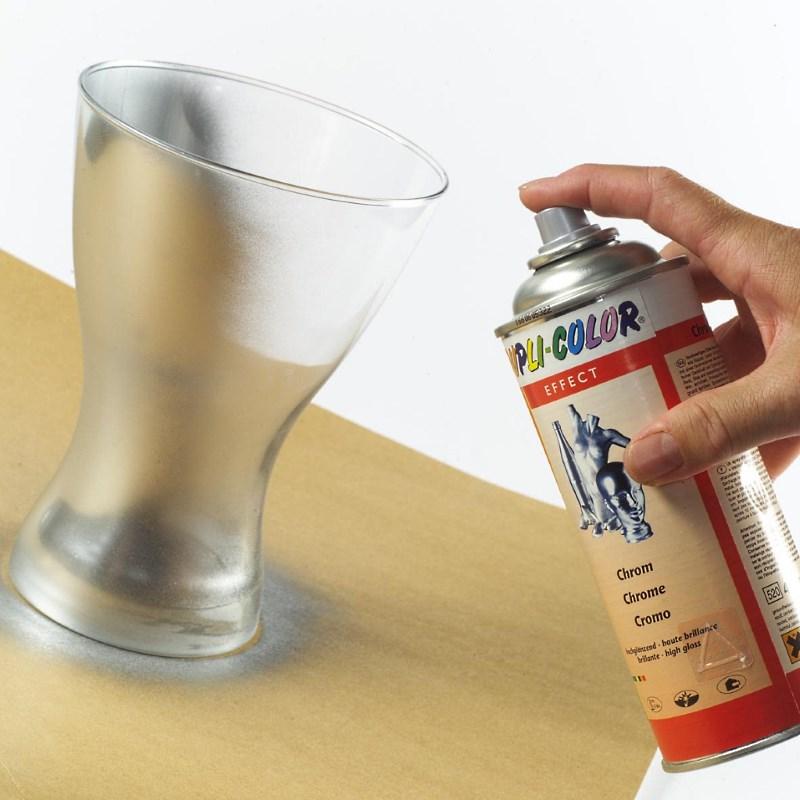 Окраска стеклянного стакана хромом из баллончика