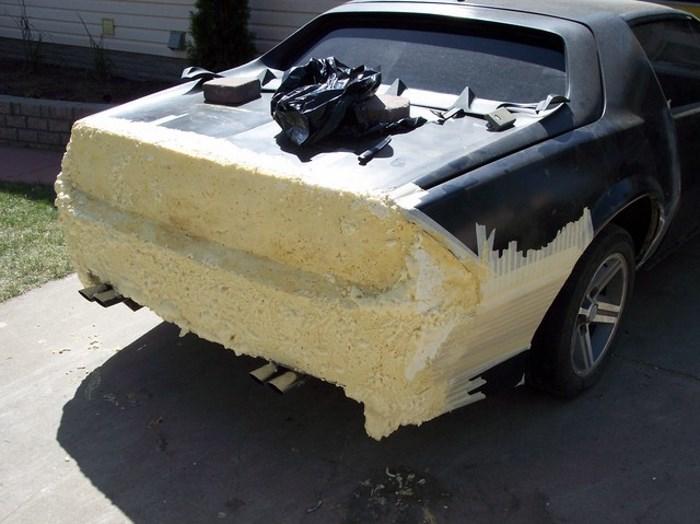 Тюнинг задней части авто и бампера из монтажной пены